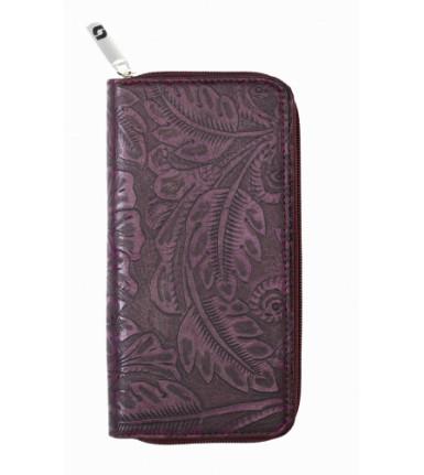 Ladies wallet with zipper Fiori Doppio purple