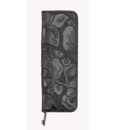 2-compartment Pencase with zipper Rosa black