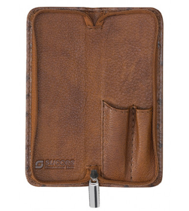2-compartment Pencase with zipper Struzzo brown